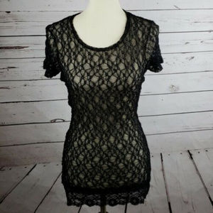 BKE Netting Women's Top Sz M Black See Through